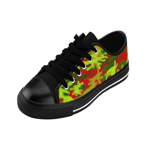 Red Green Camouflage Military Print Premium Men's Low Top Canvas Sneakers Shoes-Men's Low Top Sneakers-Heidi Kimura Art LLC