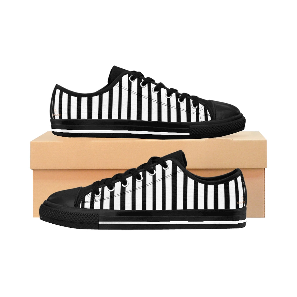 Black White Striped Women's Sneakers, Modern Low Top Running Shoes-Shoes-Printify-US 6-Black-Heidi Kimura Art LLC Black White Striped Women's Sneakers, Modern Simple Women's Striped Sneakers, Classic Modern Stripes Low Tops, Designer Low Top Women's Sneakers Tennis Shoes (US Size: 6-12)