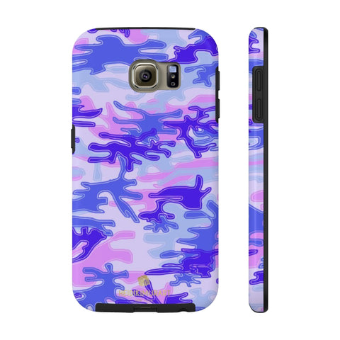 Purple Pink Camo Print iPhone Case, Army Camoflage Case Mate Tough Phone Cases-Phone Case-Printify-Samsung Galaxy S6 Tough-Heidi Kimura Art LLC Pink Purple Camo Phone Case, Dark Army Military Modern Designer Case Mate Best Tough Phone Case For iPhones and Samsung Galaxy Devices-Made in USA