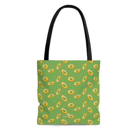 Light Green Gold Coins Lucky Irish Shamrock Green Clover Leaf Print Tote Bag- Made in USA-Tote Bag-Large-Heidi Kimura Art LLC