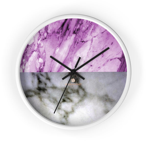 "Pink White Marble Print Art Large Indoor Designer 10"" dia. Wall Clock-Made in USA-Wall Clock-10 in-White-Black-Heidi Kimura Art LLC"