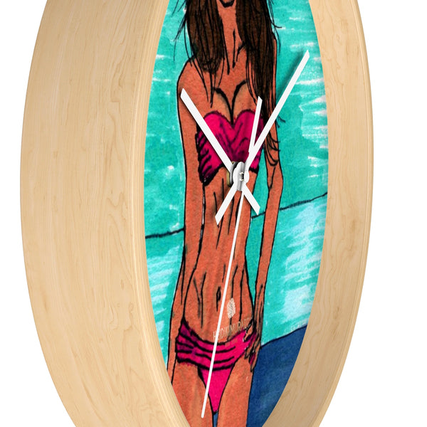 Pink Sexy Bikini Model Swimsuit Fashion Modern 10 inch Diameter Wall Clock-Wall Clock-Heidi Kimura Art LLC