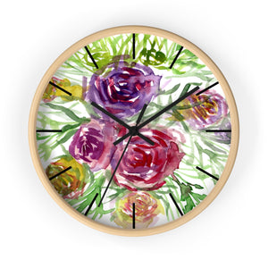 Pink Purple Floral Rose 10 inch Diameter Shabby Chic Girlie Wall Clock - Made in USA-Wall Clock-Wooden-Black-Heidi Kimura Art LLC