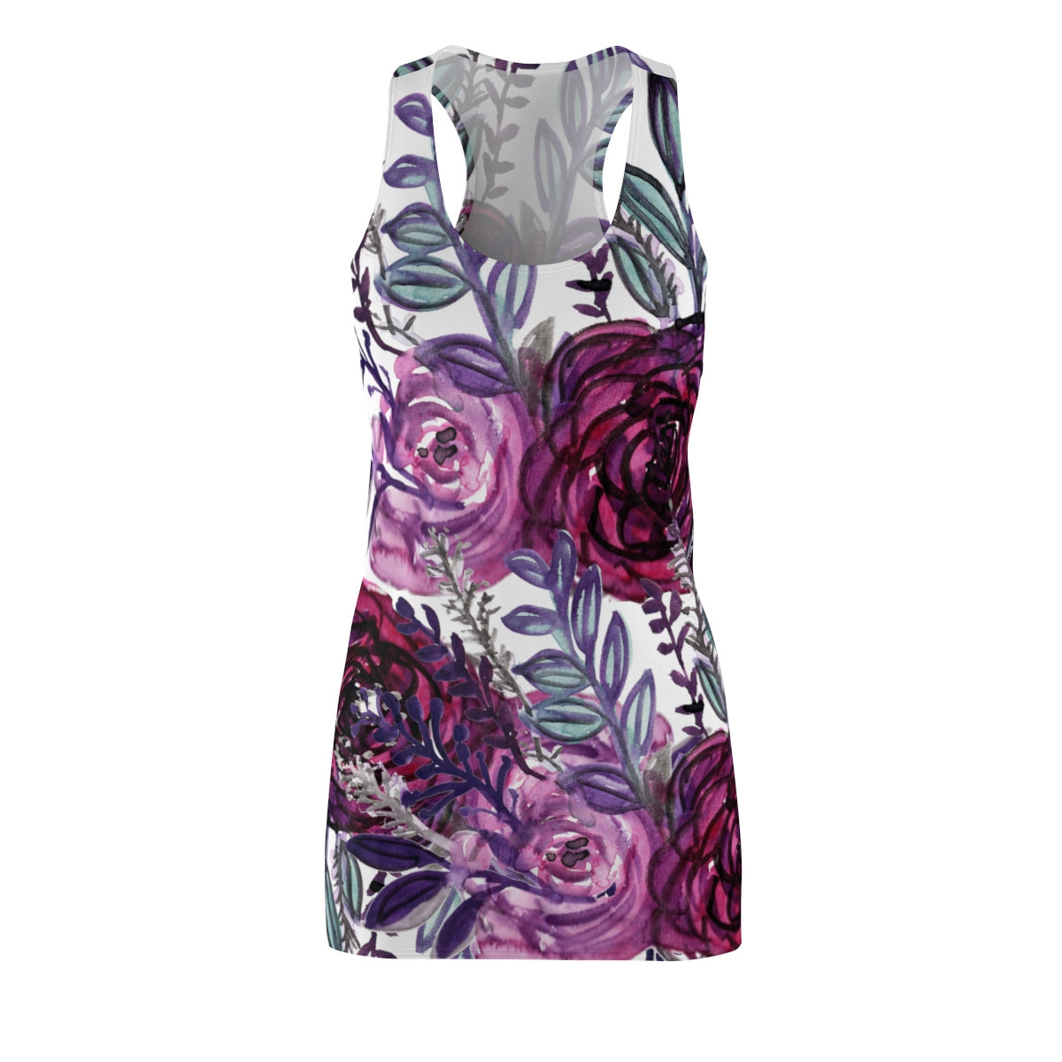 White & Purple Floral Print Designer Premium Women's Long Racerback Dress - Made in USA-Women's Sleeveless Dress-L-Heidi Kimura Art LLC