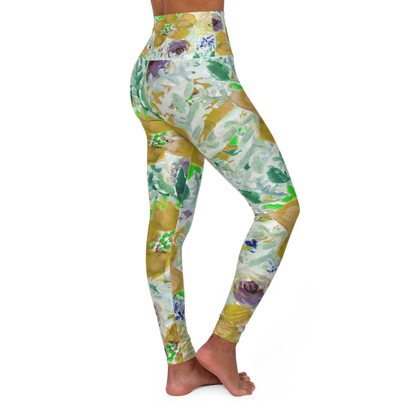 Yellow Floral Yoga Pants, High Waisted Yoga Leggings, Black Grey White Flower Print Women's Tights-All Over Prints-Printify-Heidi Kimura Art LLC