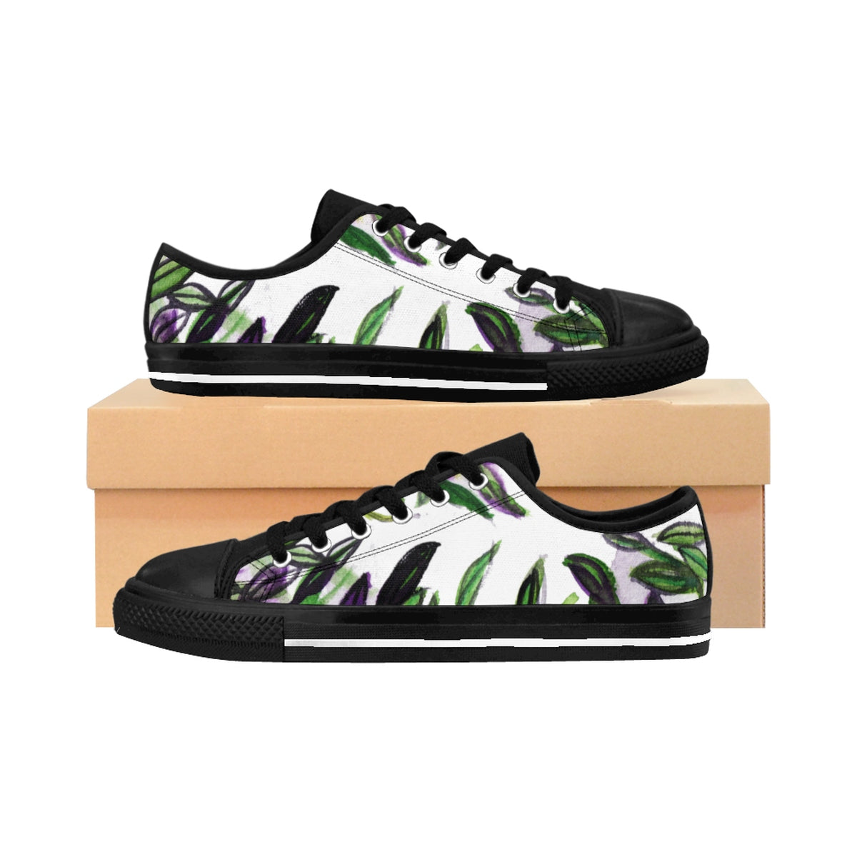 Fresh Green Tropical Leaves Print Designer Low Top Women's Sneakers (US Size 6-12)-Women's Low Top Sneakers-US 10-Heidi Kimura Art LLC