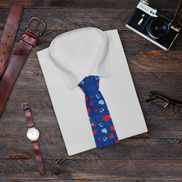 Blue Red Heart Shaped Valentine's Day Designer Necktie, Men's Neck Tie Heart- Made in USA-Necktie-One Size-Heidi Kimura Art LLC