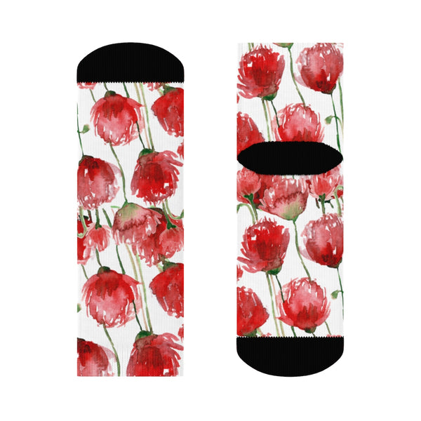 Red Poppy Floral Print Socks, Unisex Designer Premium Quality Crew Socks - Designed in USA-Socks-Ankle-Heidi Kimura Art LLC