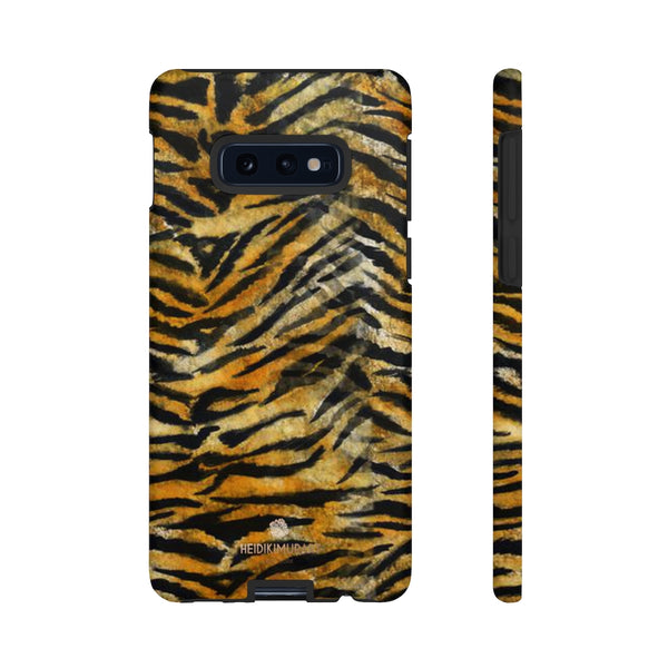 Orange Tiger Striped Phone Case, Animal Print Tough Cases, Designer Phone Case-Made in USA-Phone Case-Printify-Samsung Galaxy S10E-Matte-Heidi Kimura Art LLC