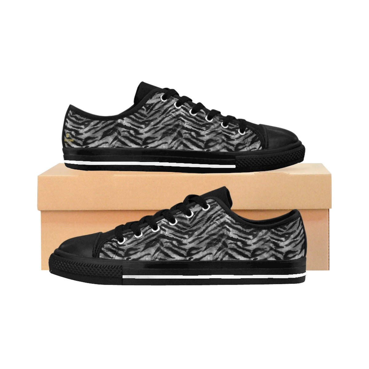 Gray Tiger Stripe Animal Skin Pattern Print Men's Low Top Sneakers Running Shoes-Men's Low Top Sneakers-US 9-Heidi Kimura Art LLC