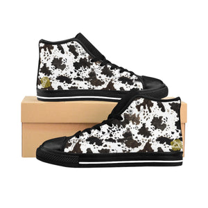 Farm Cow Print Black White Brown High Performance Women's High-Top Sneakers Shoes, (US Size: 6-12)-Women's High Top Sneakers-Black-US 9-Heidi Kimura Art LLC
