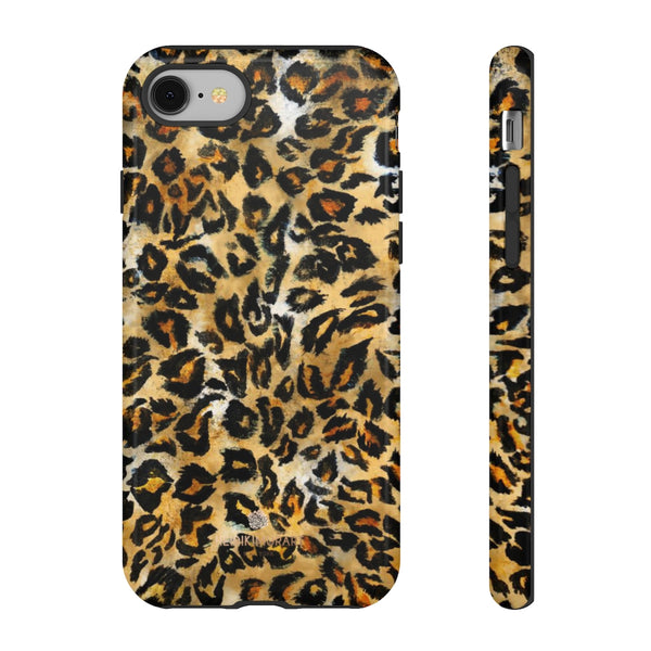 Brown Leopard Tough Cases, Animal Print Best Designer Phone Case-Made in USA-Phone Case-Printify-iPhone 8-Glossy-Heidi Kimura Art LLC