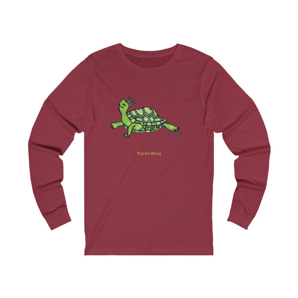 Turtle King Unisex Jersey Long Sleeve Tee Unisex T-Shirt, Made in USA (Size: X-2XL)-Long-sleeve-Cardinal-S-Heidi Kimura Art LLC