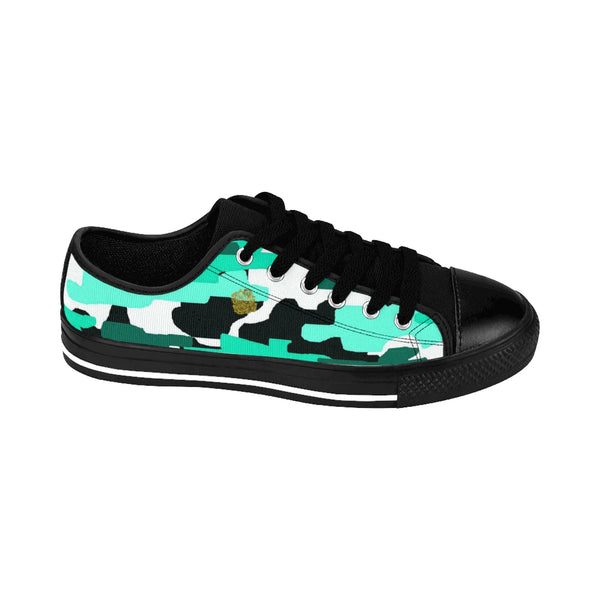 Turquoise Blue Camo Camouflage Military Print Men's Low Top Nylon Canvas Sneakers-Men's Low Top Sneakers-Heidi Kimura Art LLC