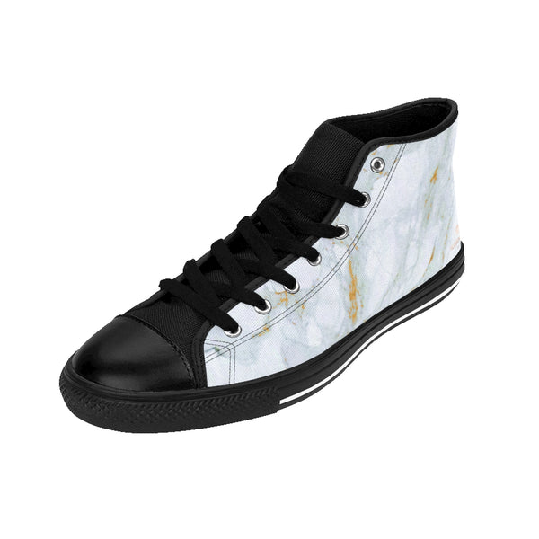White Gray Marble Abstract Print Premium Quality Men's High-Top Fashion Sneakers-Men's High Top Sneakers-Heidi Kimura Art LLC