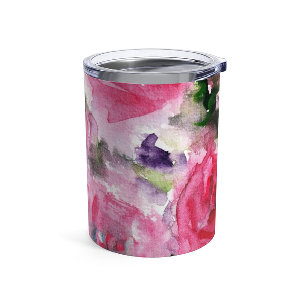 Girlie Soft Pink Rose Floral Stainless Steel Tumbler 10oz, w/ See-Through Plastic Lid-Mug-10oz-Heidi Kimura Art LLC