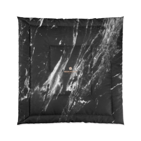 Cool Black White Marble Print Designer Comforter For King/Queen/Full/Twin-Made in USA-Comforter-88x88 (Queen Size)-Heidi Kimura Art LLC