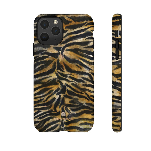 Brown Tiger Striped Tough Cases, Animal Print Best Designer Phone Case-Made in USA-Phone Case-Printify-iPhone 11 Pro-Glossy-Heidi Kimura Art LLC