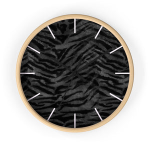 Black Tiger Stripe Wall Clock, Animal Print 10 inch Diameter Indoor Clock-Made in USA-Wall Clock-Wooden-Black-Heidi Kimura Art LLC