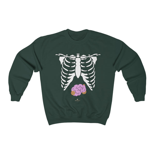 White Skeleton Torso Halloween Unisex Heavy Blend Crewneck Sweatshirt-Made in USA-Long-sleeve-Forest Green-S-Heidi Kimura Art LLC