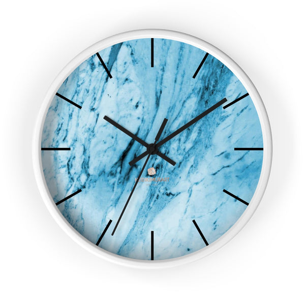 "Blue White Marble Print Art Large Indoor 10"" inch dia. Designer Wall Clock-Made in USA-Wall Clock-10 in-White-Black-Heidi Kimura Art LLC"