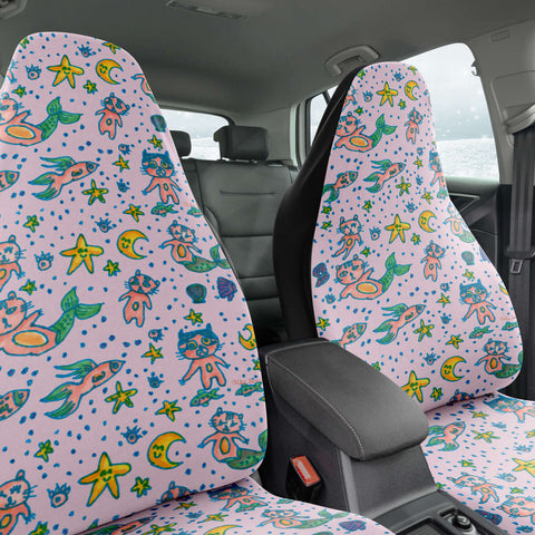 Cat Mermaid Car Seat Covers, Light Pink Washable Cute Best Designer Essential Premium Quality Best Machine Washable Microfiber Luxury Car Seat Cover For Cat Lovers- 2 Pack For Your Car Seat Protection, Car Seat Protectors, Car Seat Accessories, Pair of 2 Front Seat Covers, Custom Seat Covers