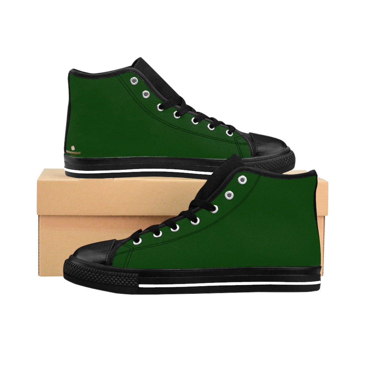 Evergreen Forest Green Solid Color Women's High Top Sneakers Running Shoes-Women's High Top Sneakers-US 9-Heidi Kimura Art LLC Green Women's High Top Sneakers, Evergreen Forest Green Solid Color Women's High Top Sneakers Running Shoes (US Size: 6-12) Designed in the USA