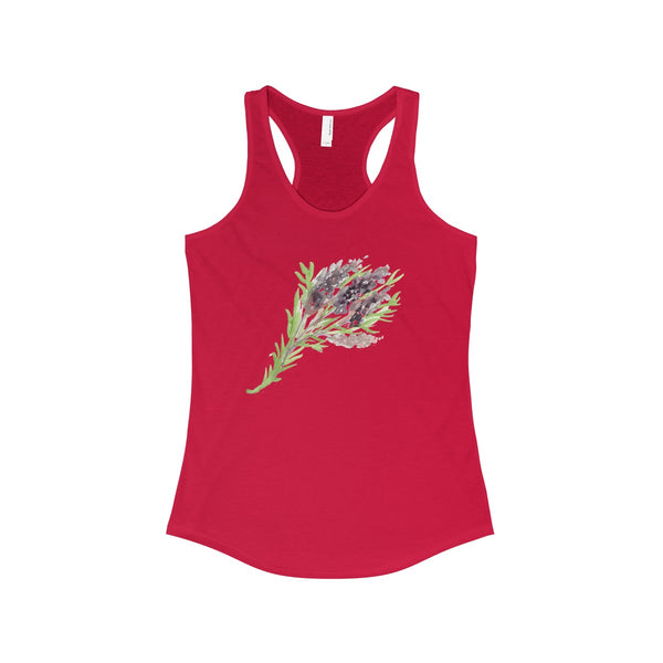 Morning Lavender Floral Women's Ideal Designer Racerback Tank - Made in USA-Tank Top-Solid Red-XS-Heidi Kimura Art LLC