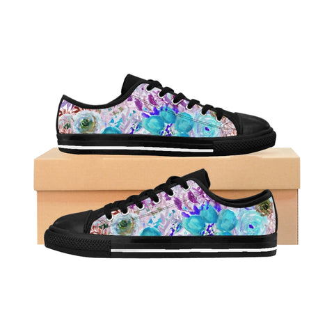 Blue Floral Print Men's Sneakers, Purple Flower Print Designer Men's Low Tops, Premium Men's Nylon Canvas Tennis Fashion Sneakers Shoes (US Size: 7-14)