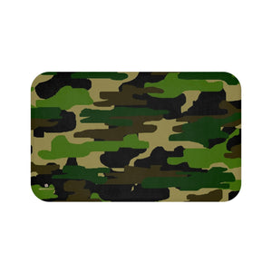 Green Camo Army Military Camoflage Print Premium Soft Microfiber Bath Mat- Printed in USA-Bath Mat-Large 34x21-Heidi Kimura Art LLC
