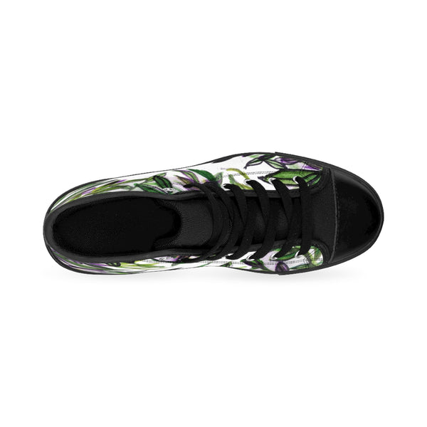 Green Tropical Leaf Print Designer Men's High-top Sneakers Tennis Running Shoes-Men's High Top Sneakers-Heidi Kimura Art LLC