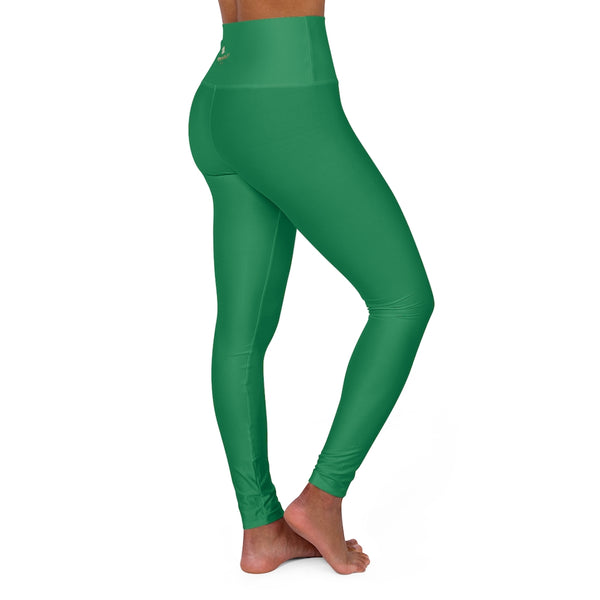 Dark Green Running Pants, High Waisted Yoga Leggings, Solid Color Long Women Yoga Tights-All Over Prints-Printify-Heidi Kimura Art LLC