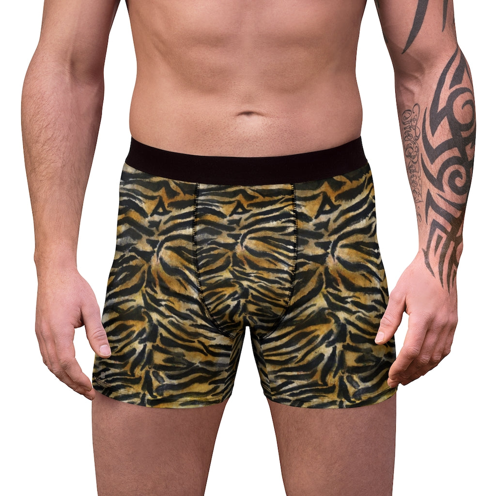 Brown Tiger Men's Boxer Briefs, Striped Animal Print Premium Quality Underwear For Men-All Over Prints-Printify-L-Black Seams-Heidi Kimura Art LLCTiger Stripe Men's Underwear, Orange Brown Tiger Stripe Animal Print Sexy Hot Men's Boxer Briefs Hipster Lightweight 2-sided Soft Fleece Lined Fit Underwear - (US Size: XS-3XL) Tiger Stripe Men's Underwear, Orange Brown Tiger Stripe Animal Print Sexy Hot Men's Boxer Briefs Hipster Lightweight 2-sided Soft Fleece Lined Fit Underwear - (US Size: XS-3XL)