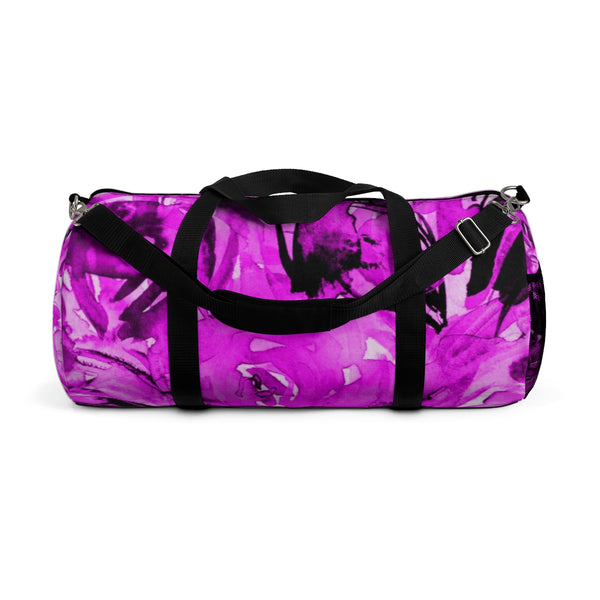 Pink Floral Rose Print Designer All Day Small Or Large Size Duffel Bag, Made in USA-Duffel Bag-Small-Heidi Kimura Art LLC
