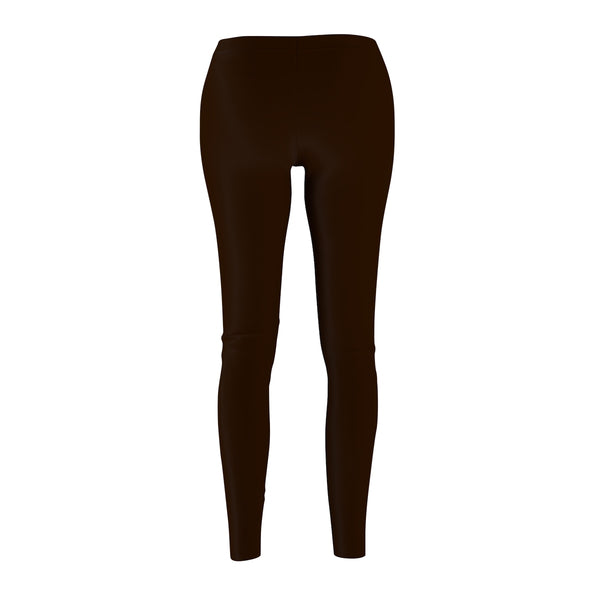 Brown Syrup Classic Solid Color Women's Casual Leggings - Made in USA-Casual Leggings-Heidi Kimura Art LLC