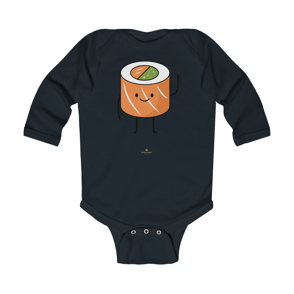Salmon Sushi Lover Baby Boy or Girls Infant Kids Long Sleeve Bodysuit - Made in USA-Infant Long Sleeve Bodysuit-Black-18M-Heidi Kimura Art LLC Salmon Sushi Baby Bodysuit, Lover Baby Boy/Girls Infant Long Sleeve Bodysuit-Made in USA