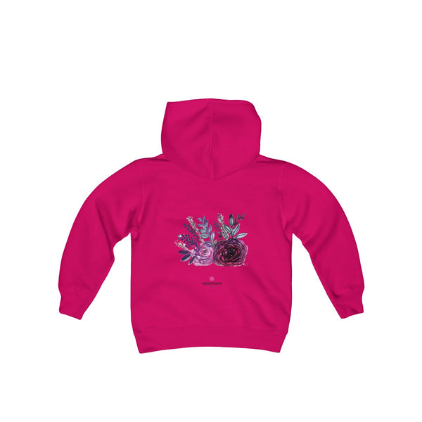 Cute Floral Purple Rose Print Girls Kids Heavy Blend Hooded Sweatshirt - Made in USA-Kids clothes-Heliconia-S-Heidi Kimura Art LLC