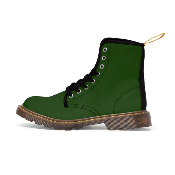 Emerald Green Classic Solid Color Designer Women's Winter Lace-up Toe Cap Boots-Women's Boots-Brown-US 10-Heidi Kimura Art LLC