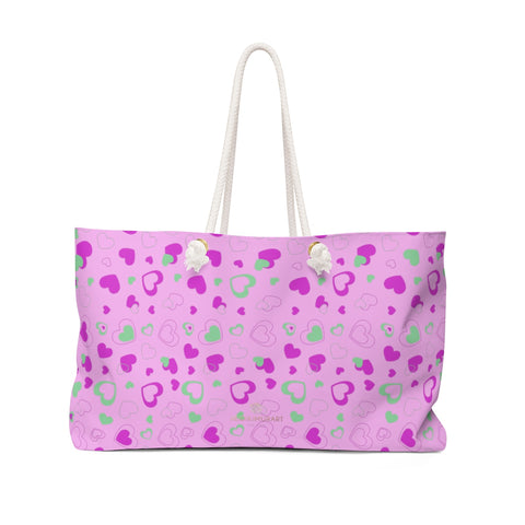 Candy Pink Hearts Valentine's Day Designer Oversized Weekender Bag- Made in USA-Weekender Bag-24x13-Heidi Kimura Art LLC
