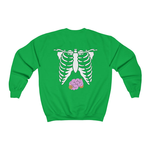 White Skeleton Torso Halloween Unisex Heavy Blend Crewneck Sweatshirt-Made in USA-Long-sleeve-Heidi Kimura Art LLC