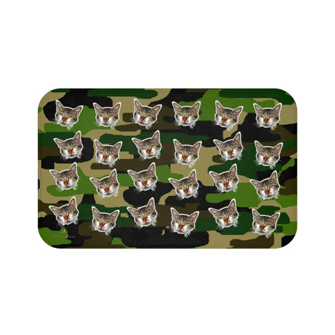 Green Camo Cat Print Bath Mat, Calico Cat Premium Microfiber Bath Rug- Printed in USA-Bath Mat-Large 34x21-Heidi Kimura Art LLC