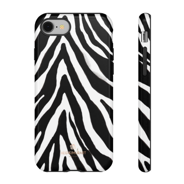 Zebra Stripe Phone Case, Animal Print Tough Designer Phone Case -Made in USA-Phone Case-Printify-iPhone 8-Glossy-Heidi Kimura Art LLC