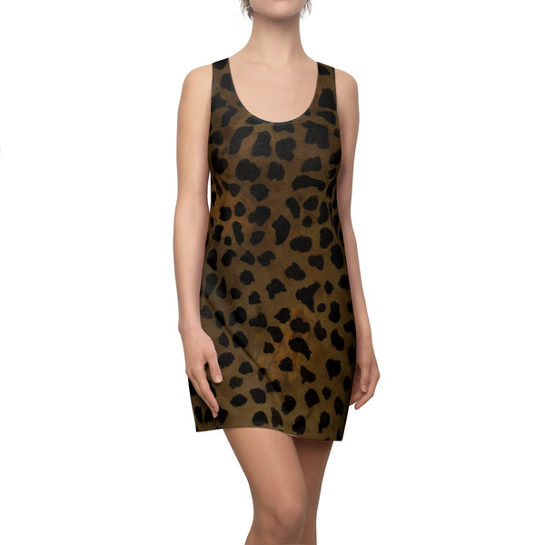 Kei Brown Leopard Animal Print Women's Designer Regular Fit Racerback Tank Crew Neck Dress, Made in USA (US Size: XS-2XL), Plus Size Available