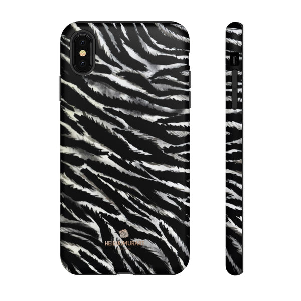 White Tiger Stripe Phone Case, Animal Print Tough Designer Phone Case -Made in USA-Phone Case-Printify-iPhone XS MAX-Matte-Heidi Kimura Art LLC