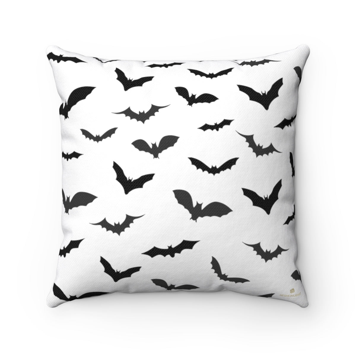 "White Gray Black Bats Print Spooky Halloween Pillow Spun Polyester Square Pillow- Made in USA-Pillow-14"" x 14""-Heidi Kimura Art LLC"