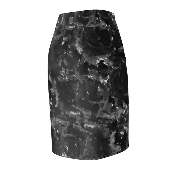Gray Abstract Pencil Skirt, Black Rose Floral Print Women's Stretchy Pencil Skirt-Made in USA-Pencil Skirt-Heidi Kimura Art LLC