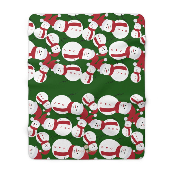 "Dark Green White Red Christmas Cute Fluffy Snowman Print Cozy Sherpa Fleece Blanket-Blanket-60"" x 80""-Heidi Kimura Art LLC"
