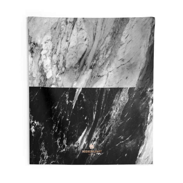 Grey Black Marble Print Designer Indoor Wall Tapestries- Made in USA-Home Decor-88x104-Heidi Kimura Art LLC