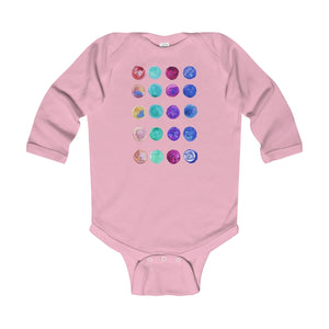 Polka Dots Print Baby's Cute Infant Long Sleeve Bodysuit - Made in UK (UK Size: 6M-24M)-Kids clothes-Pink-18M-Heidi Kimura Art LLC