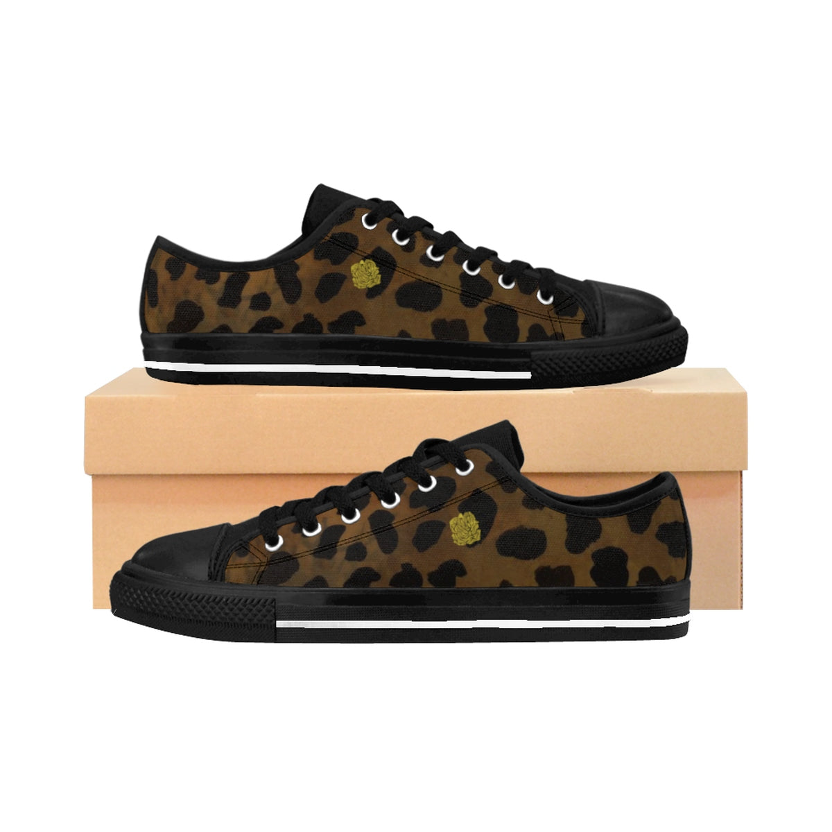 Brown Leopard Cheetah Animal Print Lightweight Men's Fashion Canvas Sneakers Shoes-Men's Low Top Sneakers-Black-US 9-Heidi Kimura Art LLC